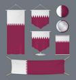 realistic 3d detailed qatar flag banner set vector image vector image