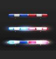 realistic red blue flashers for police car vector image vector image
