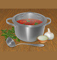 red soup in a pot with onions parsley and garlic vector image
