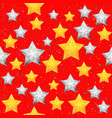 seamless pattern with christmas stars bright red vector image