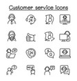 set customer service related line icons vector image