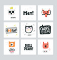 set of cute animal icons vector image vector image