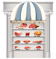 Shelves full of different kinds of meat vector image vector image