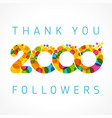 thank you 2000 followers color numbers vector image vector image