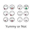 thin line yummy emoji icons vector image vector image