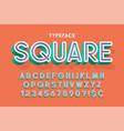 trendy 3d font design colorful alphabet typeface vector image