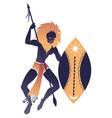 tribal zodiac leo lion-headed man holding a spear vector image
