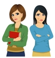 Two angry women looking at each other vector image vector image
