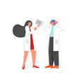 two doctors discussion flat style design vector image