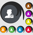 user is blocked icon sign Symbols on eight colored vector image