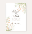 watercolour floral save date design vector image