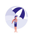 young man in the beach with swimsuit vector image vector image