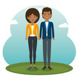 african couple standing design vector image