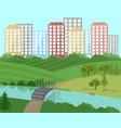 city landscape with a bridge vector image