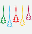 background with hanging christmas trees vector image