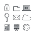 icons set data center server silhouette isolated vector image