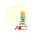 girl reading sitting on huge pile stack of books vector image