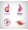 set of abstract wavy logos arrow flame vector image