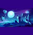 alien planet landscape space background vector image