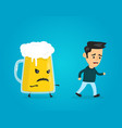 angry evil glass of beer chasing a man vector image vector image