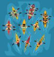 athletes paddling kayaks set kayaking water sport vector image