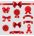 big set ribbon bow transparent background vector image vector image