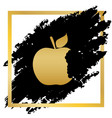 bited apple sign golden icon at black vector image vector image