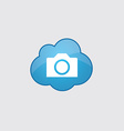 Blue cloud photo camera icon vector image