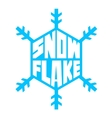blue snowflake lettering white background vector image