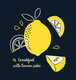 breakfast with lemon cake vector image