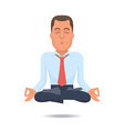 Businessman in a lotus position vector image vector image