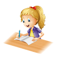 cartoon girl writing vector image vector image