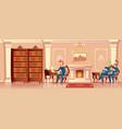cartoon living room with gentlemen company vector image vector image