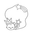 cat with crown and wand frame black and white vector image vector image