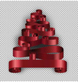 christmas tree made of ribbons decoration stripes vector image vector image