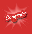 congrats congratulations card abstract backgroun vector image