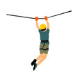 extreme sportsman man climbing in adventure park vector image