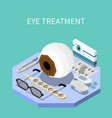 eye treatment isometric composition vector image vector image