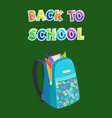 fabric bag back to school promo poster rucksack vector image
