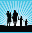 family enjoy in nature silhouette design color vector image vector image