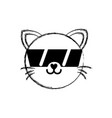 figure happy cat head cute animal with sunglasses vector image vector image