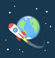 flat design of rocket flying in space around the vector image
