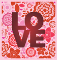Floral ornamental love message print vector