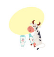 funny smiling farm cow sitting glass of milk vector image vector image
