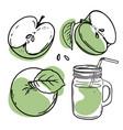 green apple juice fresh smoothie set vector image