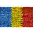 Grunge flag of Romania on a brick wall vector image vector image