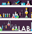 laboratory glassware on shelves vector image