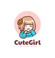 logo cute girl mascot cartoon style vector image vector image