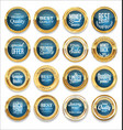 luxury sale gold and blue labels collection vector image vector image