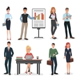 Office business people with gadgets documents and vector image